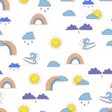 Weather vector. Seamless background pattern cartoon weather. Royalty Free Stock Photos