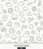 Weather wallpaper. Black and white meteorology seamless pattern. Stock Images