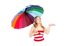 Weather warning. Girl under umbrella protection extreme weather heatwave hot temperature and skin cancer uv exposure Stock Image