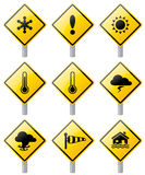 Weather warning signs. Royalty Free Stock Photo