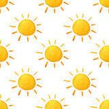 Weather watercolor pattern. Cute smiling sun. Hand painted illustration. Royalty Free Stock Images