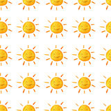 Weather watercolor pattern. Cute smiling sun. Hand painted illustration. Isolated on white background Royalty Free Stock Images