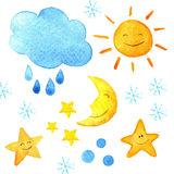 Weather watercolor pattern. Cute smiling sun, moon, star, drops, and cloud. Hand painted illustration. Royalty Free Stock Photos