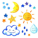 Weather watercolor set of icons. Cute smiling sun, moon, star, drops, and cloud.  hand painted illustration. Royalty Free Stock Photography