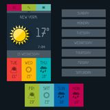 Weather widget in flat design style Royalty Free Stock Photography
