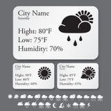 Weather widget interface template Stock Photos