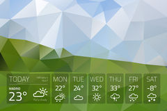 Weather widget template on nature abstract background Royalty Free Stock Photography