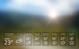 Weather widget template on nature sunset background. Isolated from background royalty free illustration