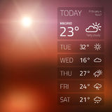 Weather widget template on sunset background Royalty Free Stock Images