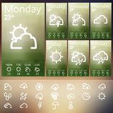 Weather Widget UI set . Royalty Free Stock Photo
