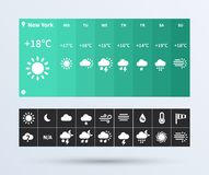 Weather Widget UI set of the flat design trend. Royalty Free Stock Image