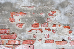 Weather worn wall. Textured background of cracked,chipped and faded concrete and brick wall royalty free stock images