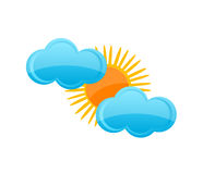 weather yellow sun and blue cloud symbol Royalty Free Stock Photography