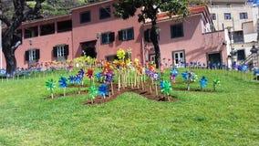 Weathercock colorido do moinho de vento em uma ilha de Madeira do jardim Fotos de Stock Royalty Free