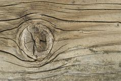 Weatherd Wood. Closeup image of knot in weathered wood stock image
