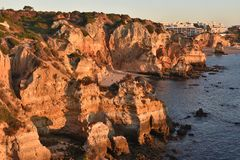 Weathered Atlantic coastline Algarve Portugal royalty free stock photography