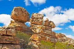 Weathered balancing rocks. Weathered sandstone balancing rocks in Southern Cederberg region stock photos