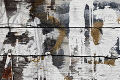 Weathered barn planks with white splashes of paint, knots, rusted hinge. Stock Photo