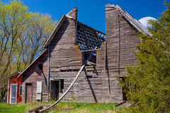 Weathered barn with skylight, minnesota Royalty Free Stock Photos