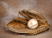 Weathered baseball glove Stock Images