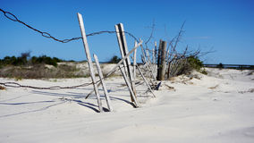 Weathered beach fence along sand dunes Royalty Free Stock Photography