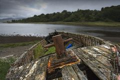 Weathered Boat On Shore Royalty Free Stock Photography