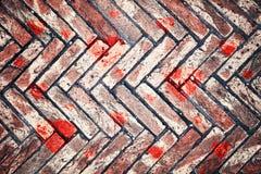 Weathered brick background with heart symbols Royalty Free Stock Photo