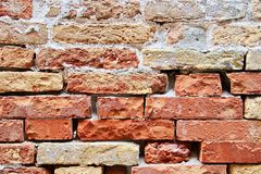 Weathered Brick Wall. Detail image of a weathered red brick wall stock photography