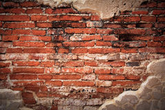 Weathered brick wall fragment Stock Images