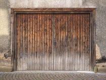 Weathered brown garage door Stock Photo