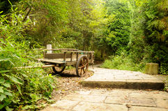 Weathered Cart on a Stone Path Stock Photo