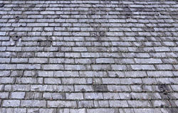 Weathered cedar roof shingles. Many rows of weathered cedar shingles with lichen growing on the ends Royalty Free Stock Photo