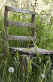 Weathered Chair. Chair forgotten in the field stock photography