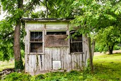 Weathered Chicken Coop Storage Shed stock images