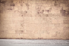 Weathered cinder block, brick wall texture with Royalty Free Stock Photos