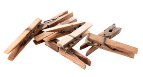 Weathered Clothes Pegs with Clipping Path Royalty Free Stock Photography
