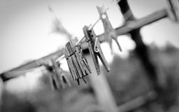 Weathered clothespins on a line. Weathered wooden clothespins on a clothesline royalty free stock image