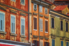 Weathered colorful mediterranean town building facades Royalty Free Stock Photography