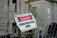 Free Weathered Danger Construction Area Sign Royalty Free Stock Image - 49356326