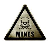 Weathered Danger Minefield Sign. Weathered Rusting Danger Minefield Sign Royalty Free Stock Image