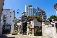 Weathered and decayed corner in Recoleta cemetery in Buenos Aires. In summer royalty free stock images
