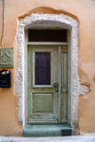 Weathered door on the old town of Chania Stock Image