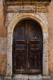 Weathered door on the old town of Chania Royalty Free Stock Images