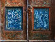 Weathered Door Panels. Closeup of old weathered wooden doodr panels Royalty Free Stock Images