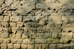 Weathered earthen wall in warm spring sunlight Stock Photography