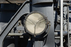 Weathered electrical headlight of a steam locomotive. Electrical Royalty Free Stock Images