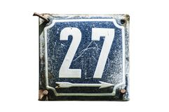 Weathered enameled plate number 27 royalty free stock photos