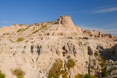 Weathered Escarpment in the Badlands. Mudstone ridge in Badlands National Park Stock Photos