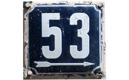Weathered esmaltou a placa número 53 Fotos de Stock Royalty Free