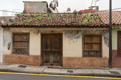 Weathered facade. A old house with weathered facade stock image